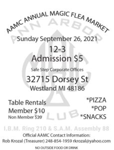 The Original Ann Arbor Magic Club Flea Market @ Safe Step Corporate Offices | Westland | Michigan | United States